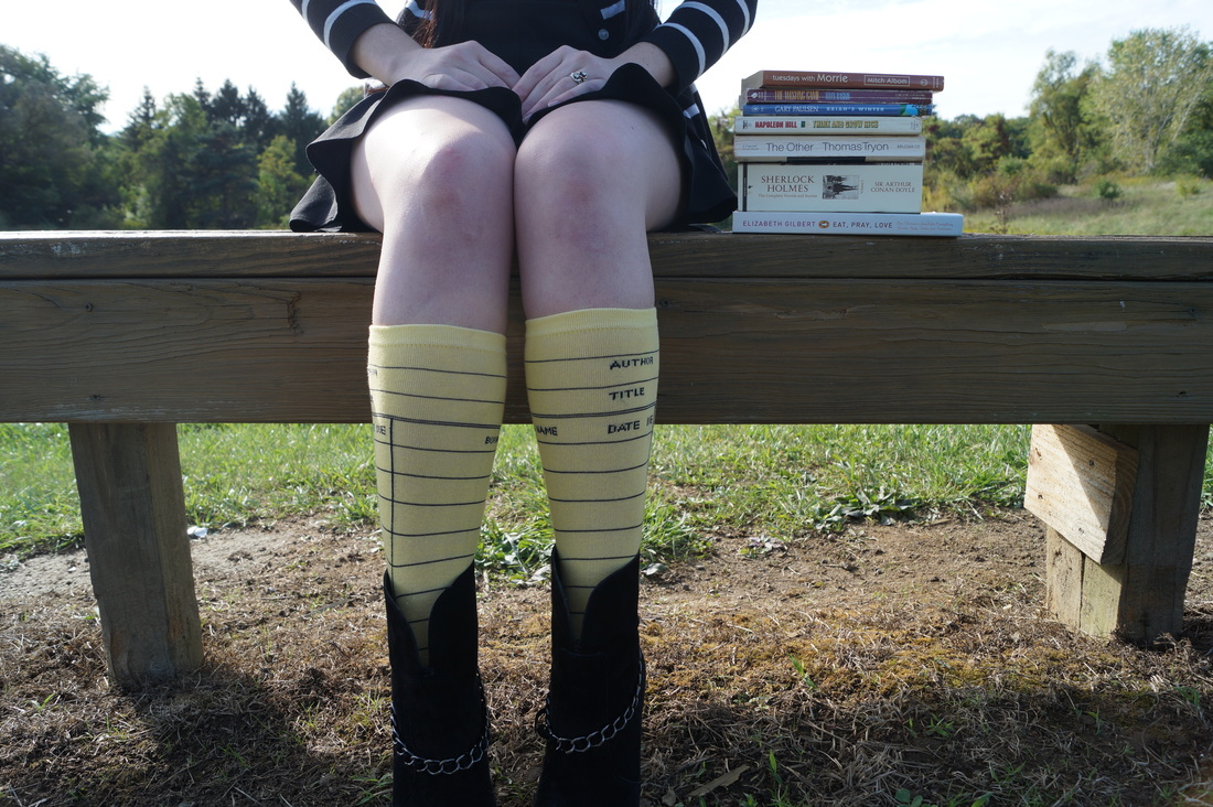Outfit of the Day; Library Card Socks!